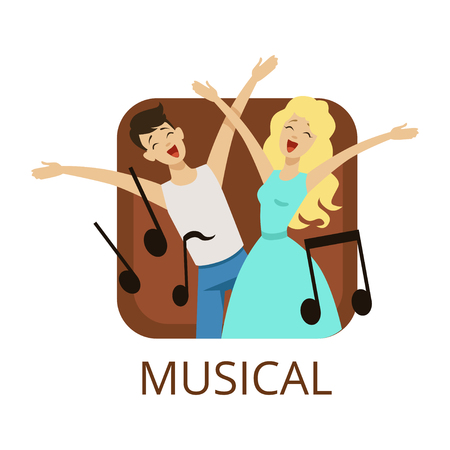 Musical cinema or theatre genre, cinematography, movie production vector Illustration on a white background