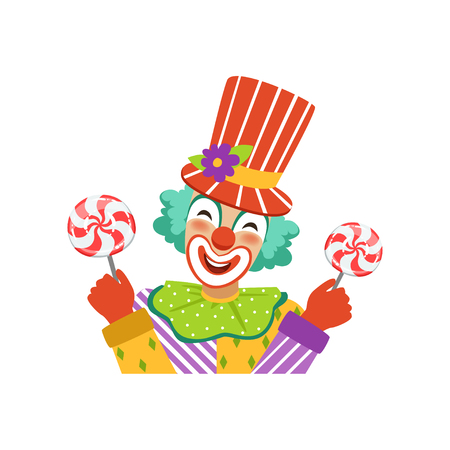 Funny circus clown in traditional makeup holding lollipops, cartoon friendly clown in classic outfit vector Illustration on a white background Illustration
