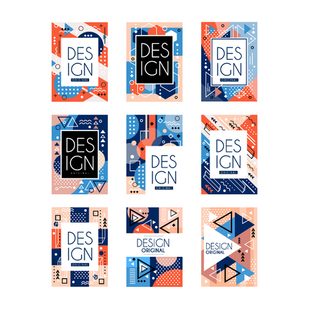 Conjunto de tarjetas de estilo Memphis. Colorido patrón geométrico abstracto, diseño de textura con lugar para el texto. Saludos con estilo, volantes, cartel hipster. Invitación a la fiesta. Colección de vectores aislado en blanco