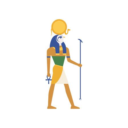 Ra、太陽、エジプトの古代文化の図の神。  イラスト・ベクター素材