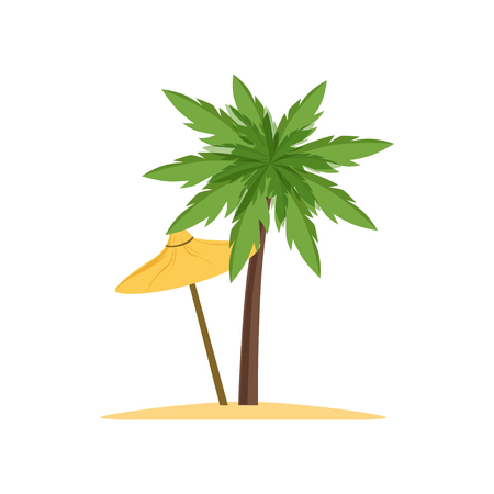 ヤシの木とビーチ傘ベクトル イラスト 写真素材 - 91381871