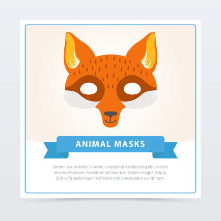 Fox role-play mask for children s theater or birthday party. Cute animal s muzzle. Kids carnival disguise element. Cartoon flat vector design for invitation, kids greeting card or masquerade flyer.