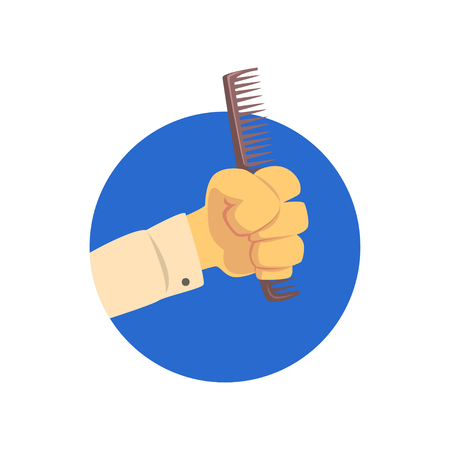 Hand holding hairdressing comb, symbol of the profession of a hairdresser cartoon vector Illustration on a white background Illusztráció