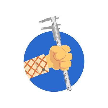 Hand holding vernier caliper or stangenzirkel, construction and renovation maintenance instrument cartoon vector Illustration on a white background Illustration