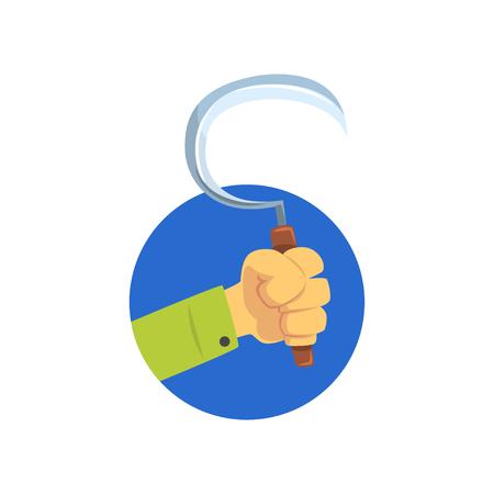 Main tenant la faucille, symbole de la profession d'un fermier, jardinier ou vecteur de dessin animé travailleur agricole Illustration sur fond blanc Banque d'images - 91632520