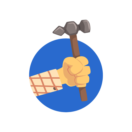 Hand holding hammer, technical service, repairs and and other mechanical processes cartoon vector Illustration on a white background