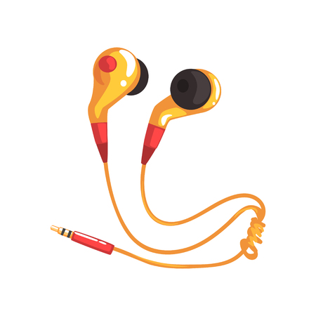 Yellow earphones or earbuds, music technology accessory cartoon vector Illustration