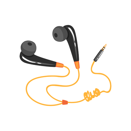 Black earphones with adapter cord, music technology accessory cartoon vector Illustration on a white background Illustration