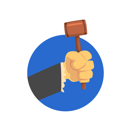 Hand holding judges gavel, wooden hammer of judge or auctioneer cartoon vector Illustration on a white background