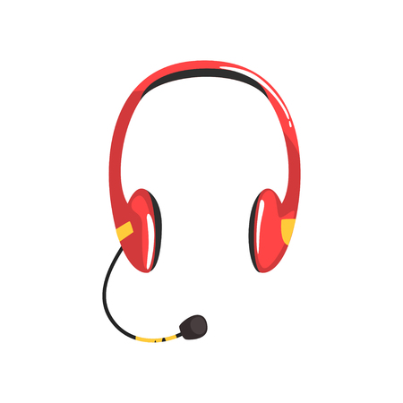Red wireless headset, headphones with microphone cartoon vector Illustration on a white background Illustration