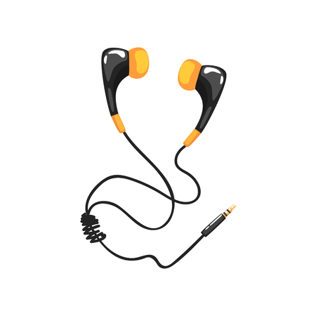Earphones with adapter cord, music technology accessory cartoon vector Illustration on a white background Illustration