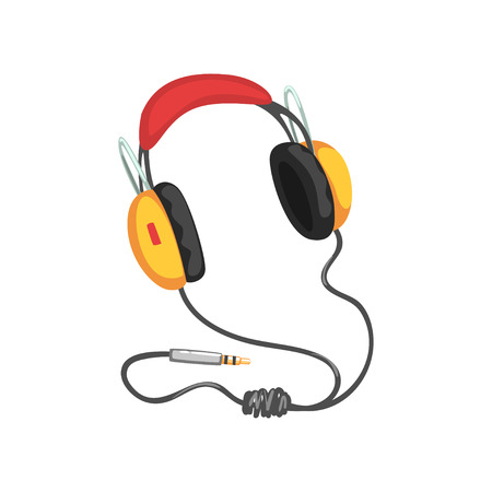 Stereo headphones with adapter cord, music technology accessory cartoon vector Illustration