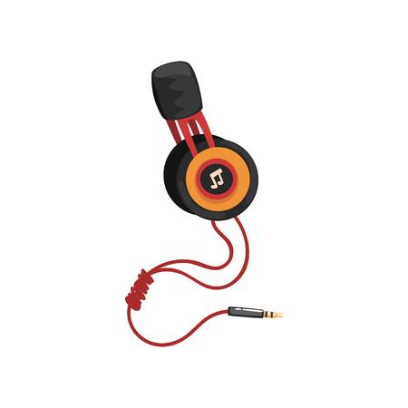 Earphones with headband and adapter cord, music technology accessory cartoon vector Illustration Illustration