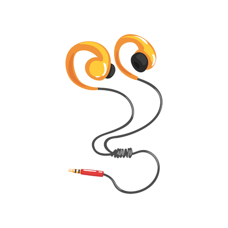 Yellow earphones or earbuds with adapter cord, music technology accessory cartoon vector Illustration