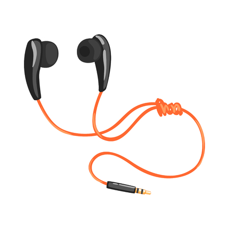Earphones or earbuds with adapter cord, music technology accessory cartoon vector Illustration
