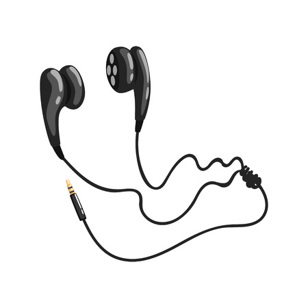 Black corded earphones Фото со стока - 91633098
