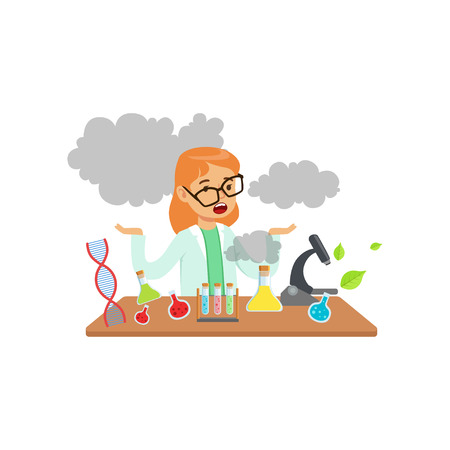 Girl scientist after a failed experiment, schoolgirl at chemistry lesson vector Illustration Vettoriali
