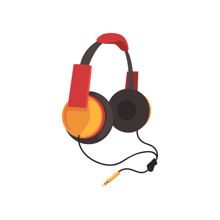 Red and yellow headphones with headband and adapter cord, music technology accessory cartoon vector Illustration
