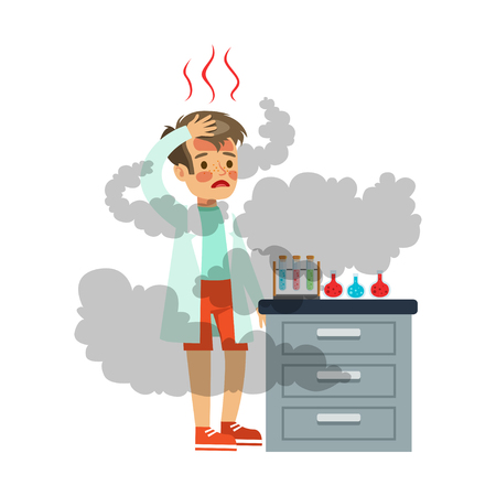 Disappointed boy with burned face after a failed chemical experiment, scientist experimenting in science chemistry laboratory vector Illustration