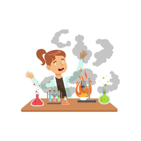 Meisjeswetenschapper na een mislukt experiment, mengselexplosie, schoolmeisje bij de vectorillustratie van de chemieles