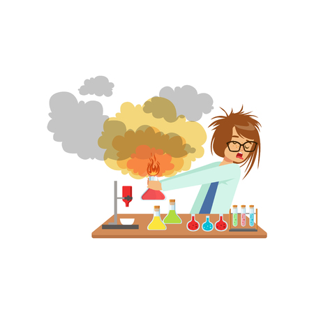 Scienziato della ragazza dopo un esperimento fallito, esplosione della miscela, scolara all'illustrazione di vettore di lezione di chimica