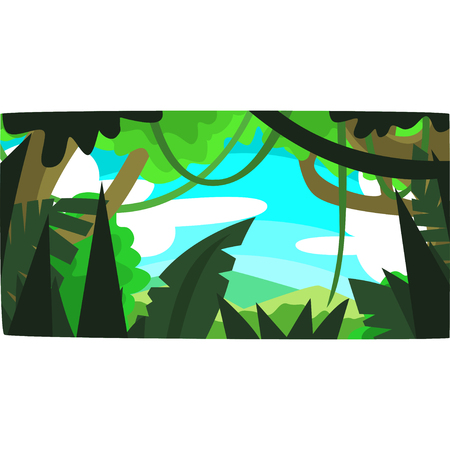 Tropical jungle, greenwood background with leaves, bushes and trees, tropical forest scenery in a day time vector illustration, forest backdrop