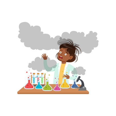 Girl after a failed chemical experiment, schoolgirl scientist experimenting in science chemistry laboratory vector Illustration on a white background