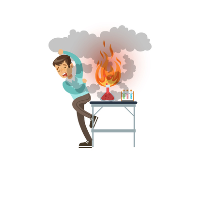 Boy after a failed chemical experiment, scientist experimenting in science chemistry laboratory vector Illustration on a white background