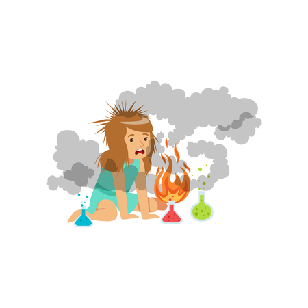 Girl after a failed chemical experiment, schoolgirl doing chemical experiment vector Illustration on a white background Ilustrace