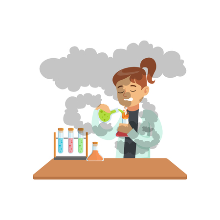 Girl doing chemical experiment, schoolgirl scientist experimenting in science chemistry laboratory vector Illustration on a white background