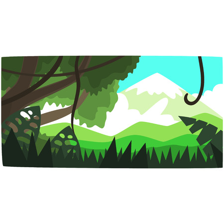 Deep tropical jungle background, tropical forest scenery in a day time vector illustration, forest backdrop Illusztráció