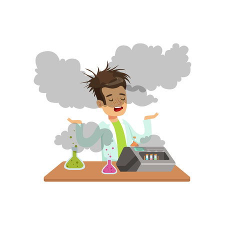 Boy scientist after a failed experiment, mixture explosion, schoolgirl at chemistry lesson vector Illustration on a white background Imagens - 91633518