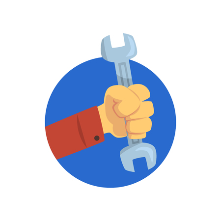 Hand holding a spanner, technical service, repairs, customer support cartoon vector Illustration on a white background