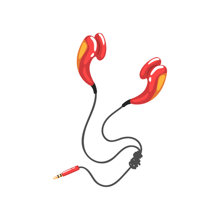 Red corded earphones, music technology accessory cartoon vector Illustration on a white background