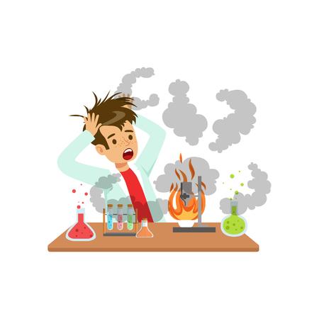 Jongen na een mislukt chemisch experiment, mengselexplosie, wetenschapper die in het laboratorium vectorillustratie van de wetenschapschemie op een witte achtergrond experimenteren