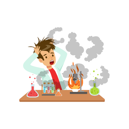 Boy after a failed chemical experiment, mixture explosion, scientist experimenting in science chemistry laboratory vector Illustration on a white background Vettoriali
