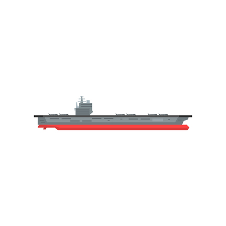 Large cartoon aircraft carrier with military planes on board;Marine vessel; Graphic design element for sticker, mobile or computer game; illustration in flat style isolated on white background Ilustração