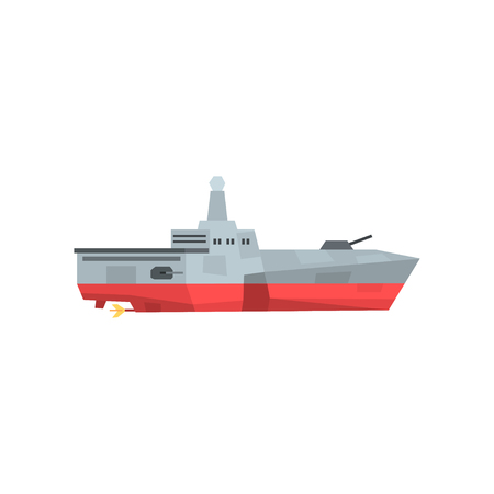 Dangerous war boat with cannon and radar. Military ship icon. Missile cruiser in flat style. Colored vector illustration isolated on white background. Graphic design element for poster cover.