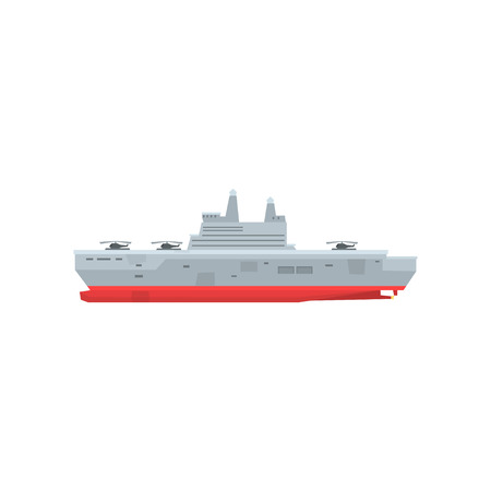 Illustration of hi-speed navy tanker with helicopters on aboard; Marine vehicle in flat style; Graphic element for computer or mobile game; Cartoon vector design isolated on white. Side view icon. Illustration