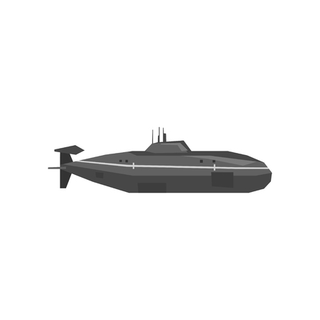 Cartoon illustration of military submarine.
