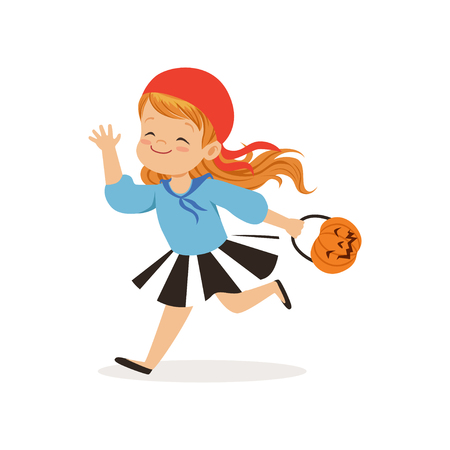 Sweet little girl in halloween costume running with a basket made of pumpkin vector Illustration on a white background