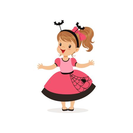 Sweet little girl in halloween costume vector Illustration on a white background