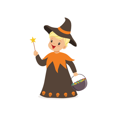 Little boy dressed as a wizard, cute kid in halloween costume vector Illustration on a white background Illustration