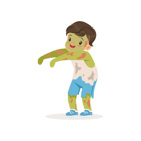 Little boy dressed as a zombie, cute kid in halloween costume vector Illustration on a white background Vectores