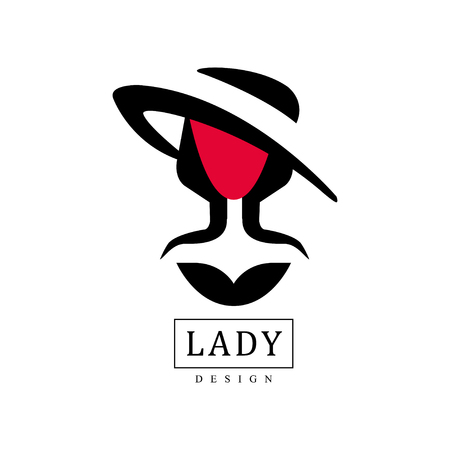 Lady design, fashion, beauty salon, studio or boutique logo template design, red and black fashion poster, placard, banner vector Illustration on a white background