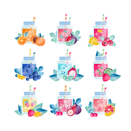 Set of glass jars with sweets and drinks icon.