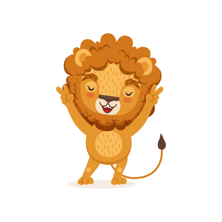 Cute happy lion cartoon character standing with paws up. Jungle animal with lush mane and cute tail. Adorable illustration for children print, t-shirt or book. Vector in flat style isolated on white.