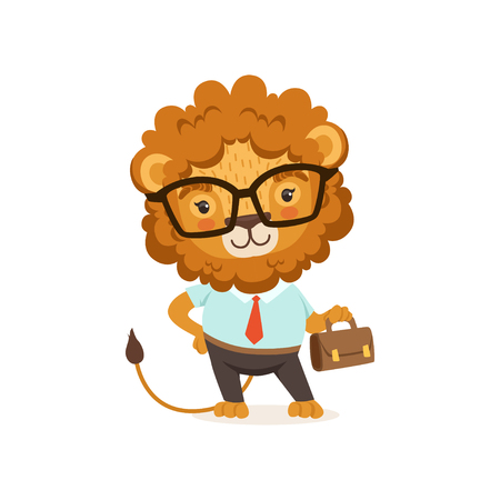 Illustration of lion cartoon character wearing glasses and formal clothing, with briefcase in paw. Animal with a lush mane. Vector in flat style
