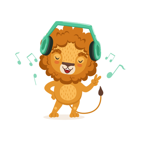 Cute young lion cartoon character standing with paw up and listening to music through headphones. Animal with lush mane. Children print for t-shirt or book. Vector flat illustration isolated on white. Illustration
