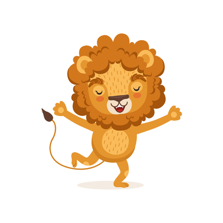 Illustration of happy smiling kid lion cartoon character running with paws up. Wild animal with lush mane. Colorful children print for t-shirt or book. Flat vector design element isolated on white.